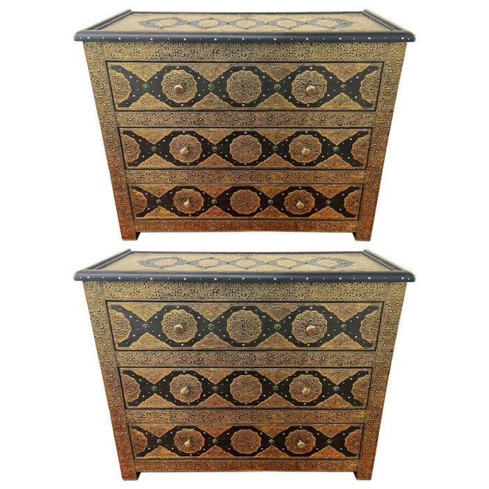 Palatial Hollywood Regency Commode, Chest, Nightstand in Brass and Ebony, a Pair