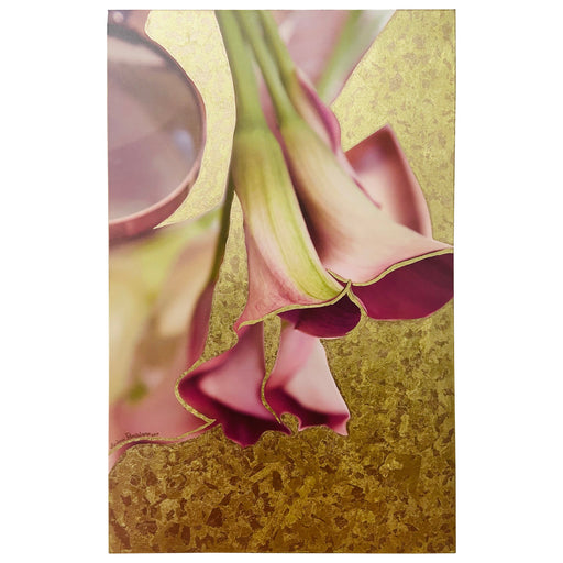 "Mixed Media on Canvas with 23K Gold Leaf Titled ""Pink Calla"" Signed & Dated"