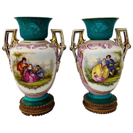 French Sèvres Style Vase or Urn, a Pair