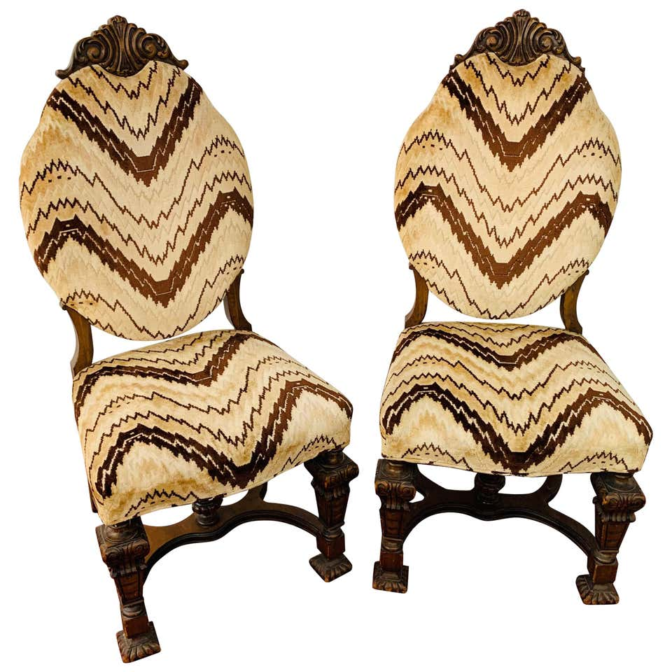 Side Chair with Chevron Striped Upholstery and Hand-carved Legs, a Pair