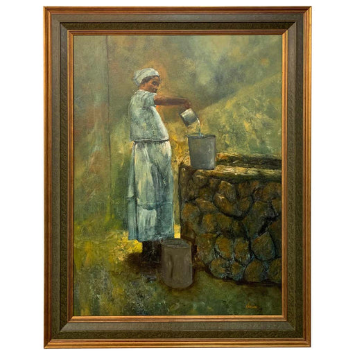 Large Oil on Canvas Figurative Painting of a Farmer Woman by a Well