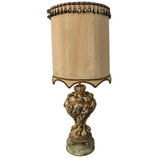 French Hand Painted Ceramic Large Table Lamp