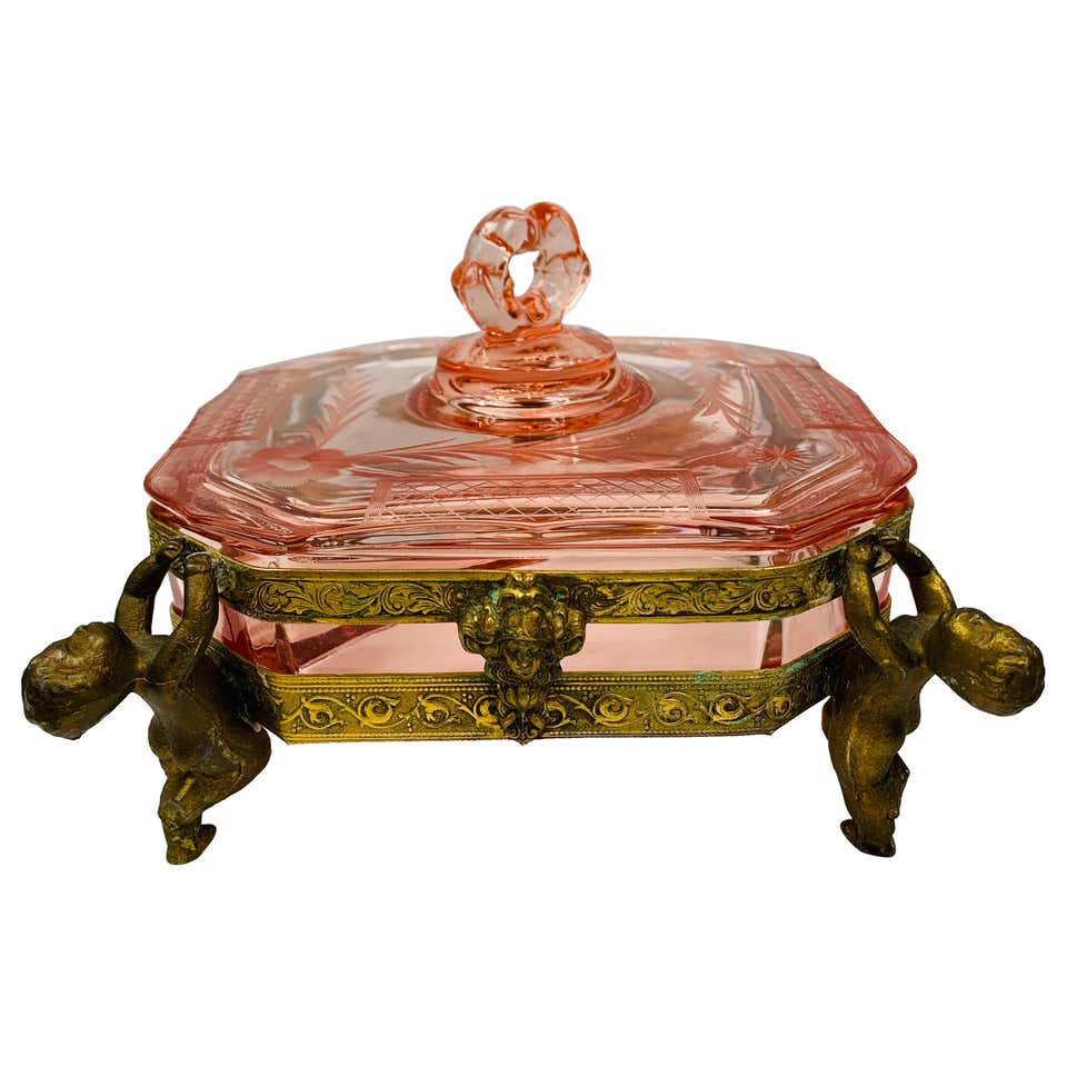 French Antique Bronze and Cut Glass Pink Decorative Jewelry Box