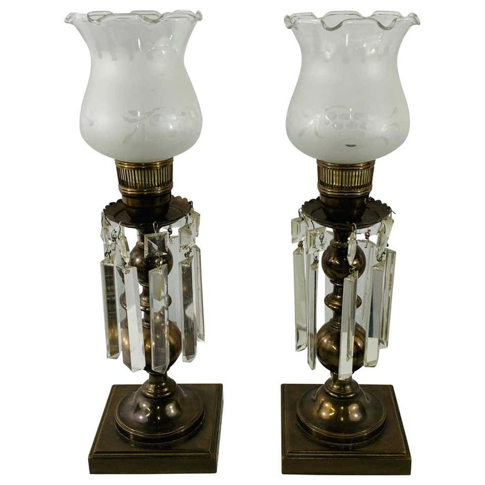 Empire Style English Hurricane Table Lamps