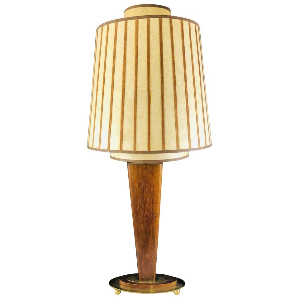 Mid-Century Modern Wood and Brass Base Table Lamp