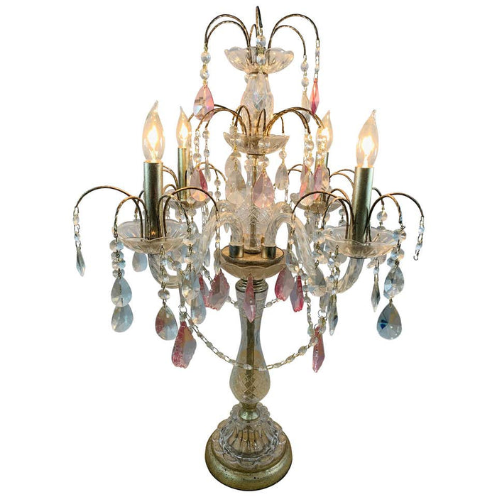 French Neoclassical Cut Crystal Girandole or Table Lamp