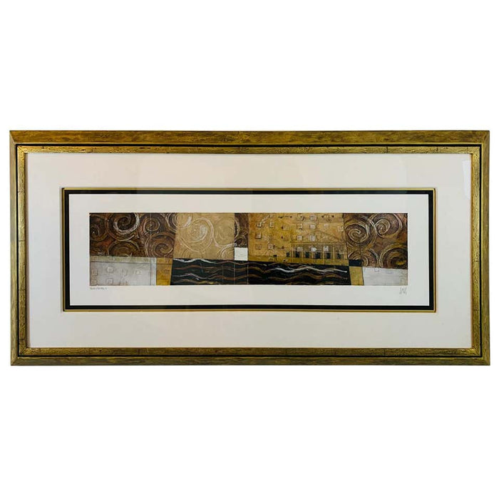 Horizontal Geometrical Collage Lithograph on Paper Framed, Signed and Numbered