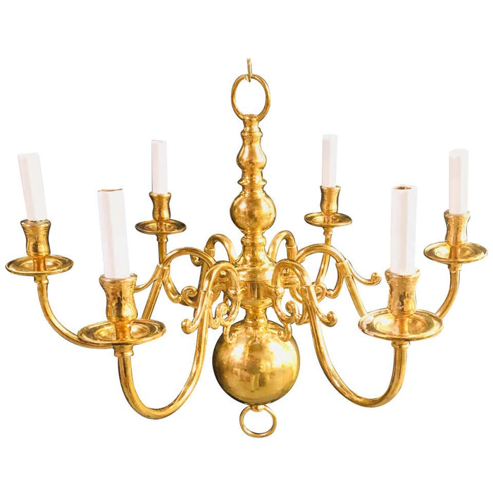 English Georgian Style Brass Six-Arm Chandelier