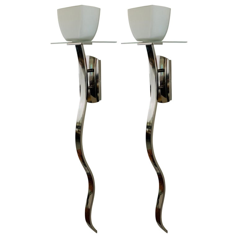Mid-Century Modern Italian Chrome and Opaline Shades Wall Sconce, a Pair