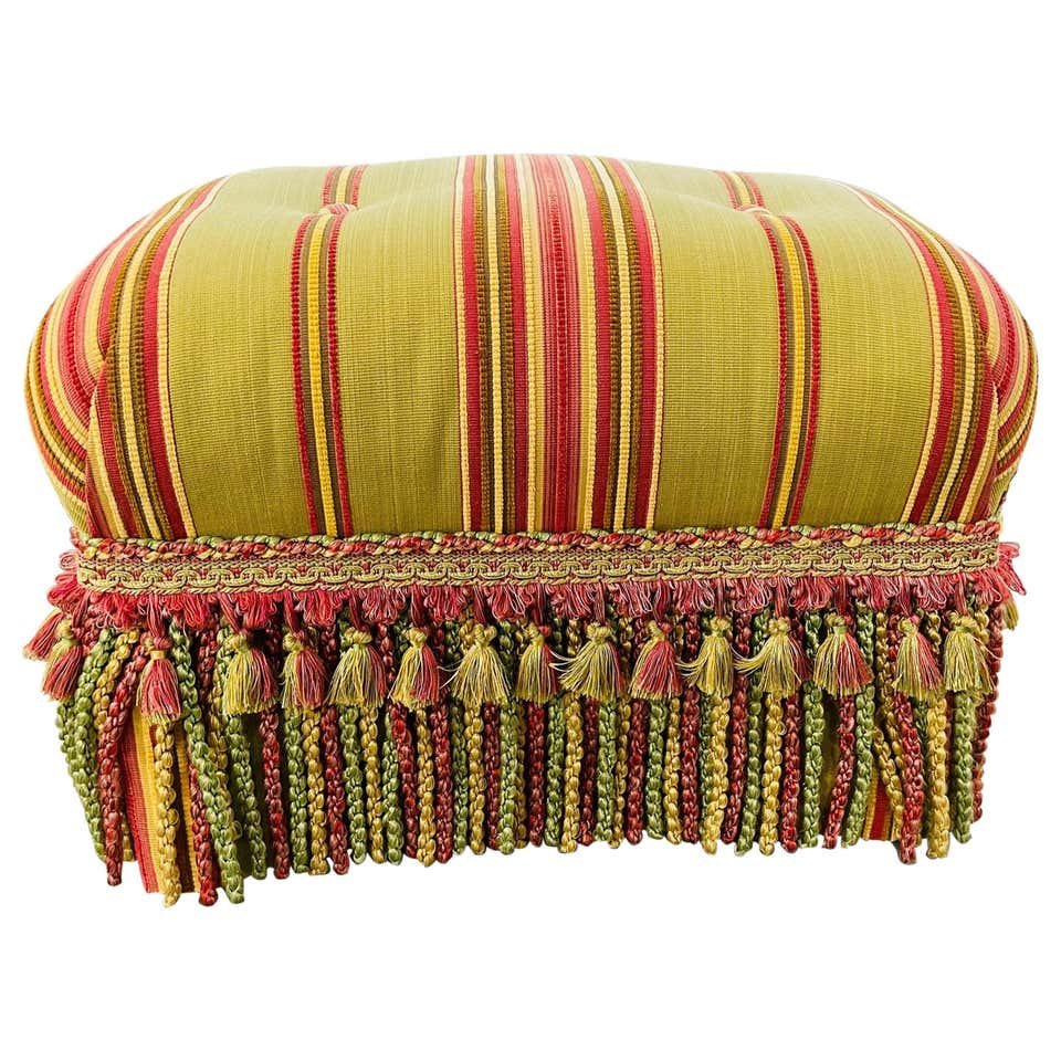 Hollywood Regency Upholstered Foot Stool or Ottoman