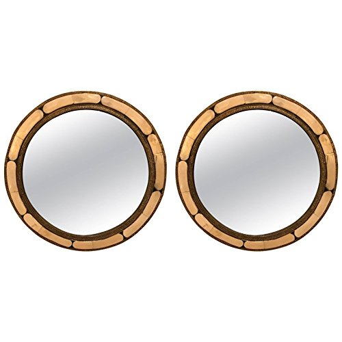 White Round Mirror in Hollywood Regency Style a Pair