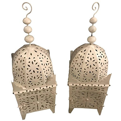 A Pair of Moroccan Garden Floor Candle Holders Lanterns in White
