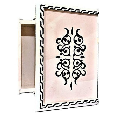 A Pair of Moroccan Hand-painted Black & White Table Nightstand