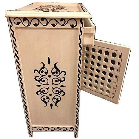 A Pair of Moroccan Latticework White & Black Nightstands