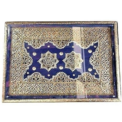 Moroccan Handmade Silver Metal Rectangular Inlaid Table in Blue …