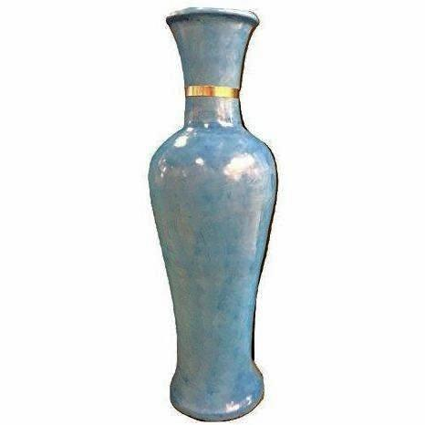 Moroccan Hand-painted Tall Turquoise Vase with Upper Gold Trim