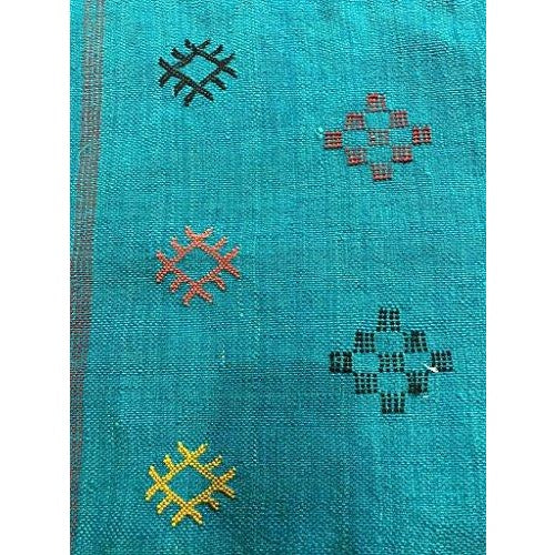 Wool Hand-loomed Moroccan Teal BlueTribal Design Pillow