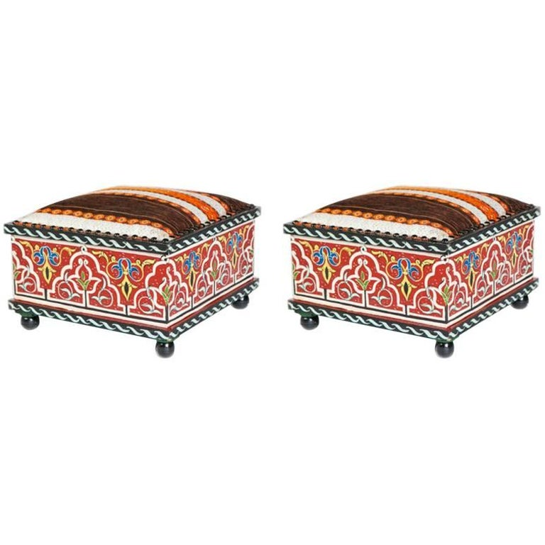 Pair of Hand-Painted  Moucharabieh Foot Stools , Ottomans ot Stools
