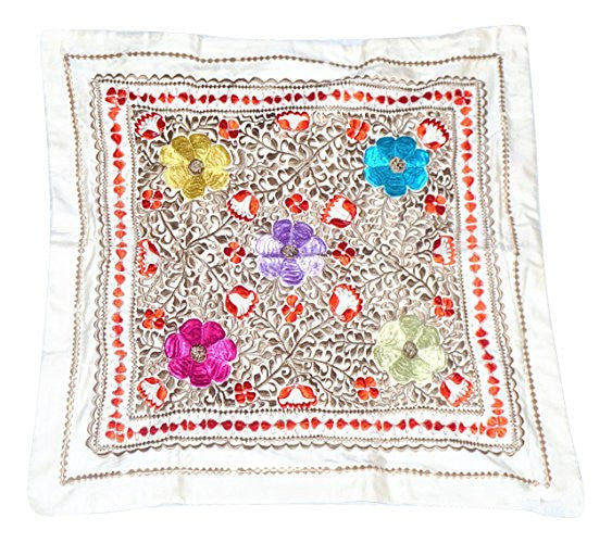 Handwoven Floral Moroccan Bedding Set with Multicolor Threading