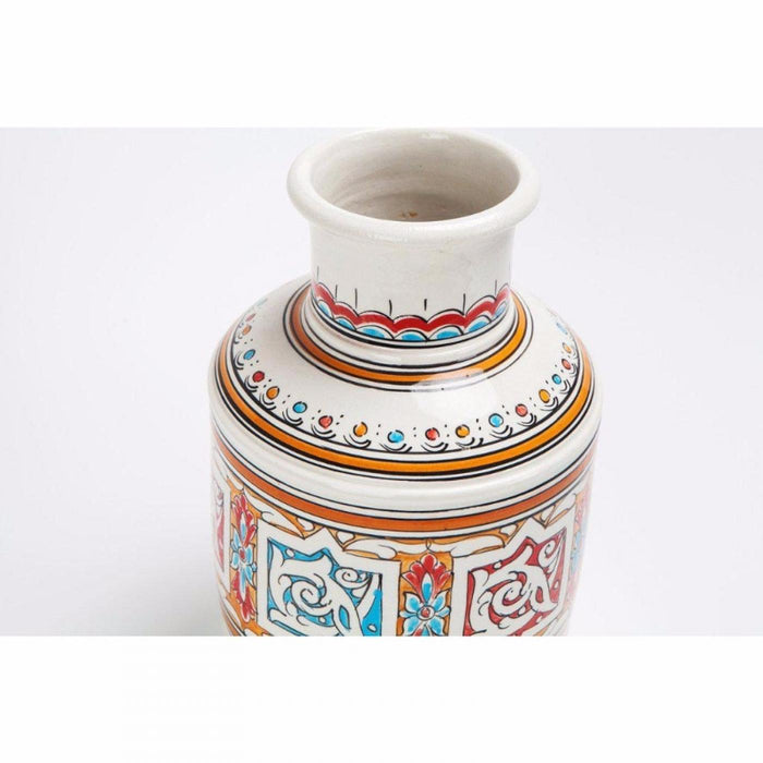 Moroccan Orange Blue and White Handcrafted Vintage Ceramic Vase