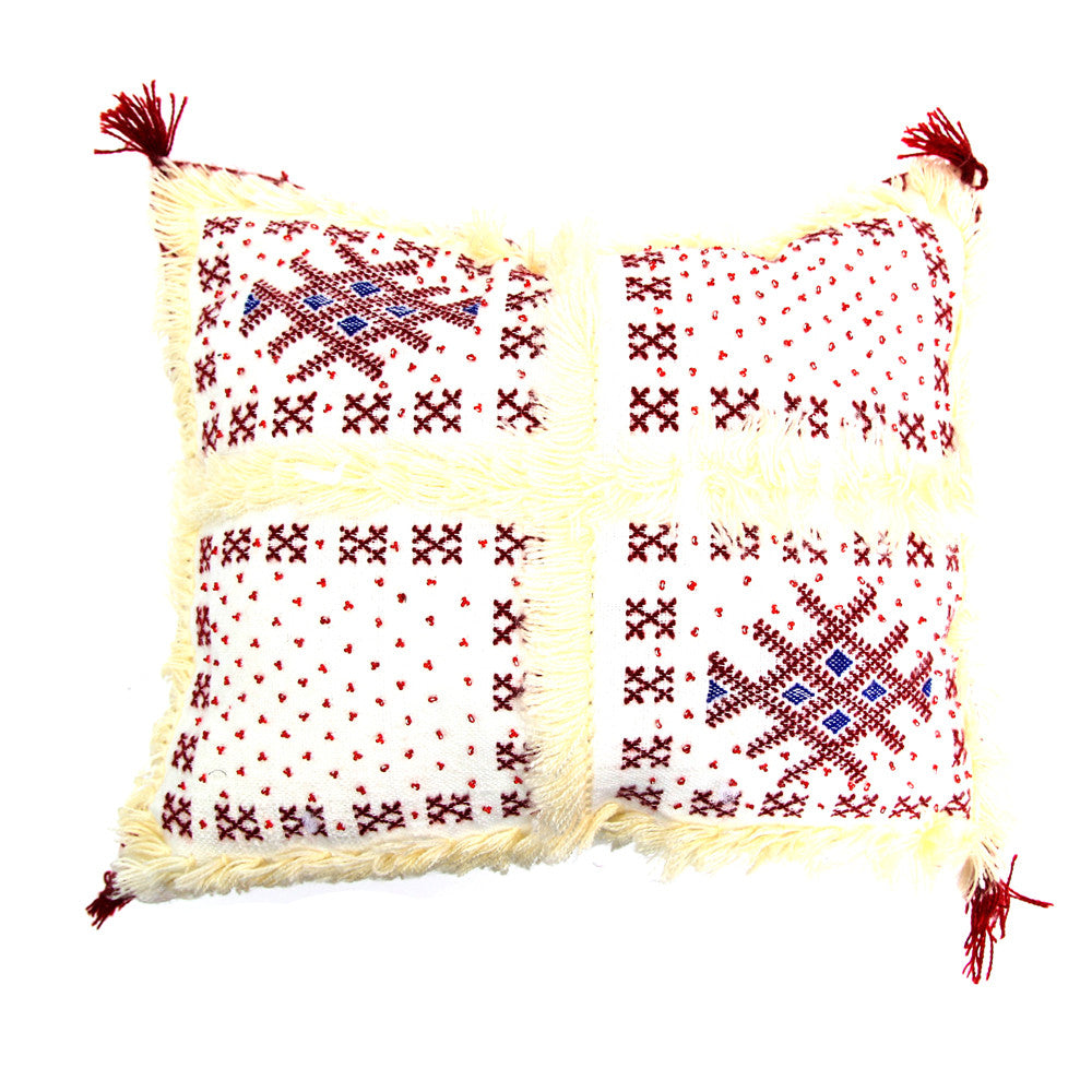Moroccan Wedding Pillow (Red & White)