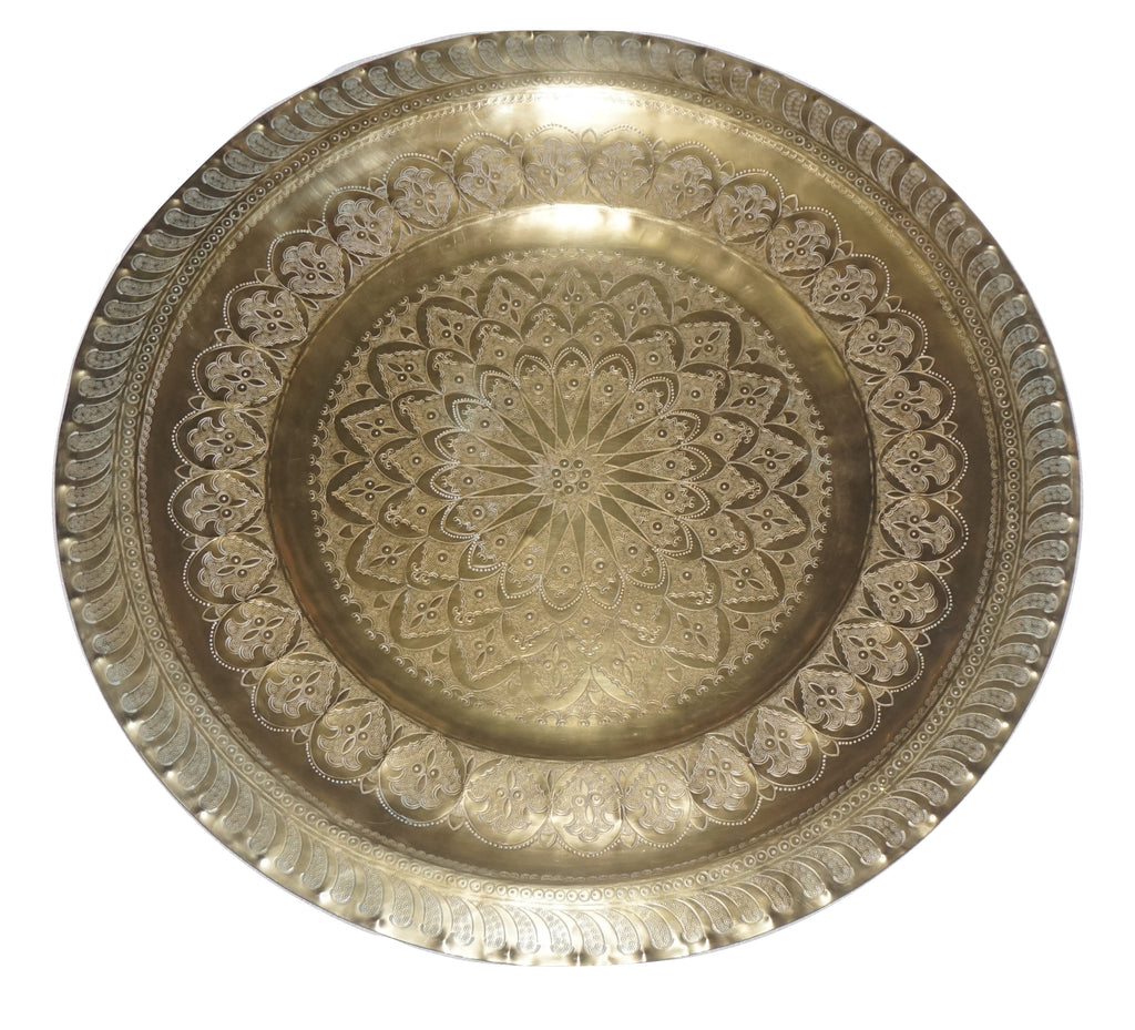 Vintage large brass round tray