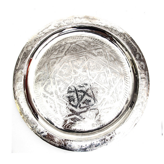 Engraved Silver Moroccan Tray