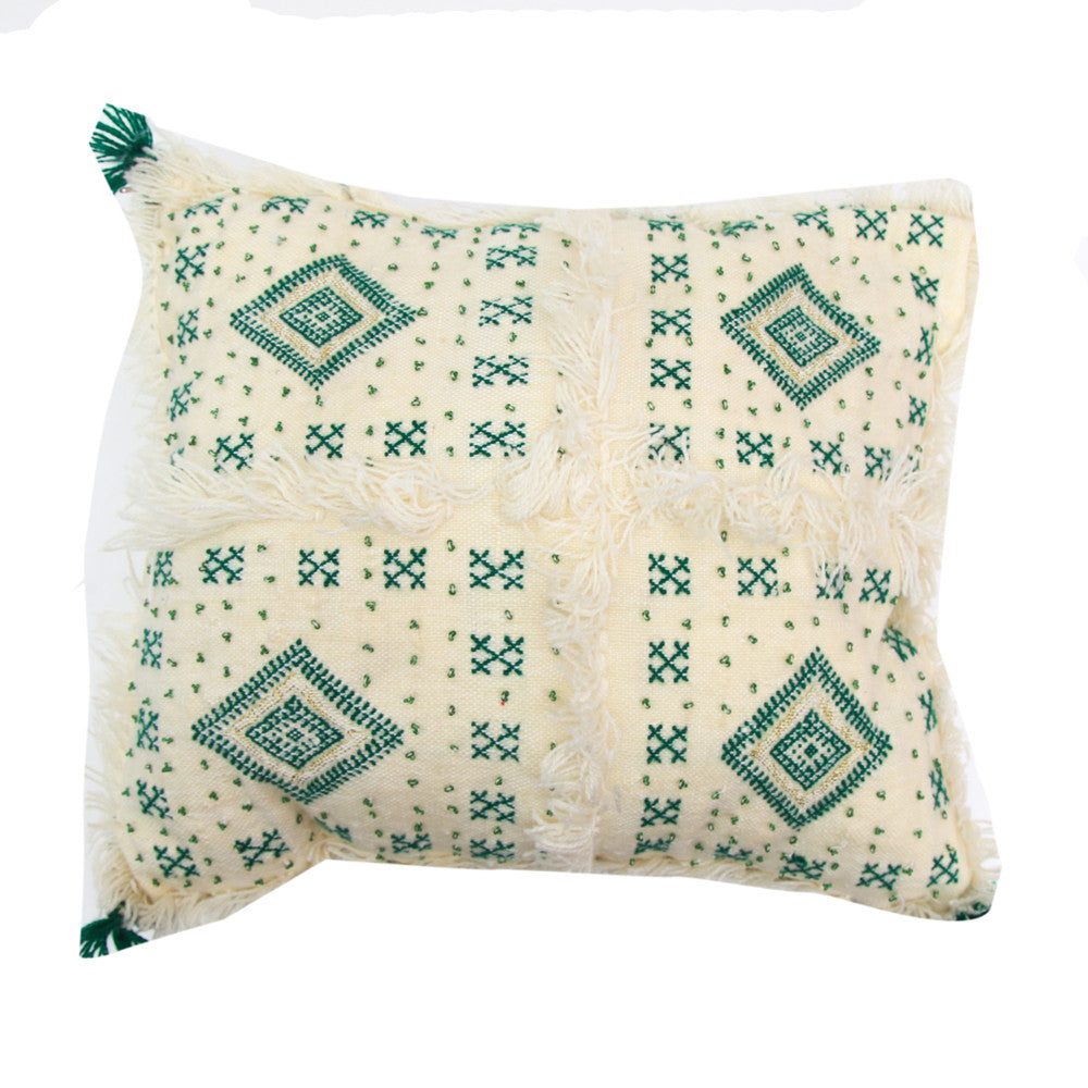 Moroccan Wedding Pillow (Green and White)
