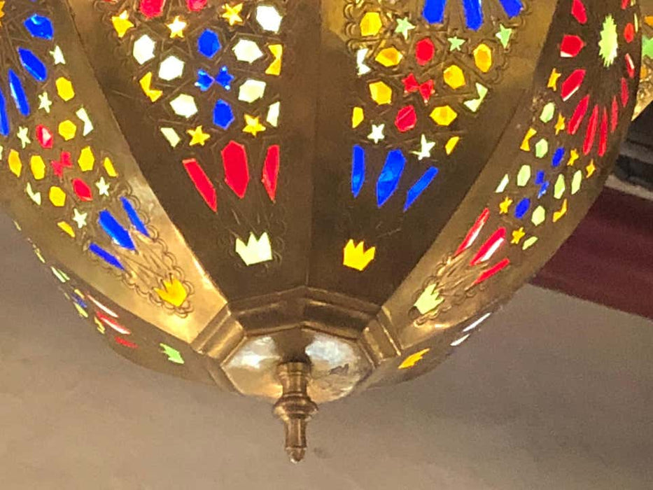 Tiffany & Co. Fashioned Brass and Colored Glass Chandelier, a Pair