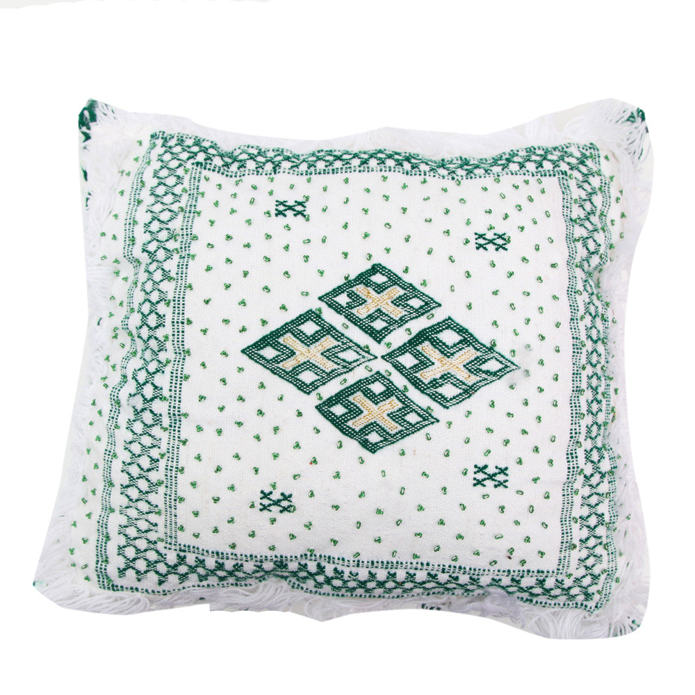Moroccan Wedding Pillow--Forest Green and White