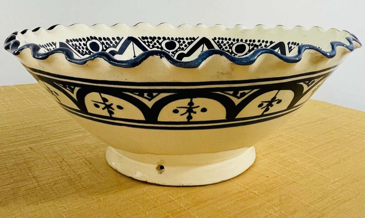 Vintage Tribal Moroccan Hand Painted Ceramic Bowls, a Set of 2