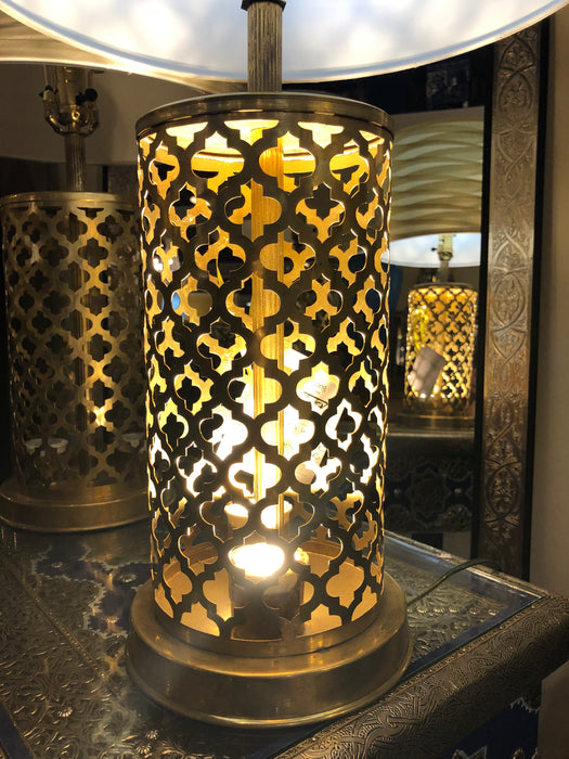 Modern Moroccan Gold Brass Table Lamp Handmade, Bottom & Upper Light, a Pair