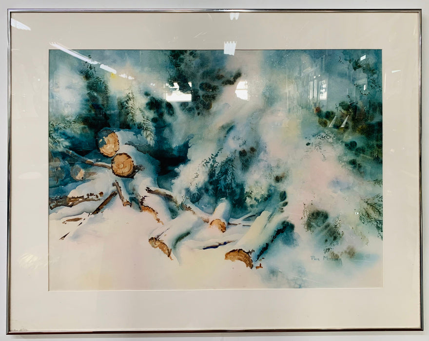 Landscape Snowy Winter Scene Water Color Signed Artist Phil Metzger and Framed