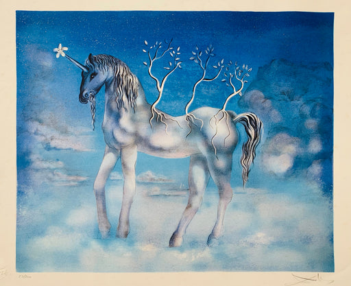 Surrealist Salvador Dali Blue Unicorn Lithograph signed and numbered 87/300
