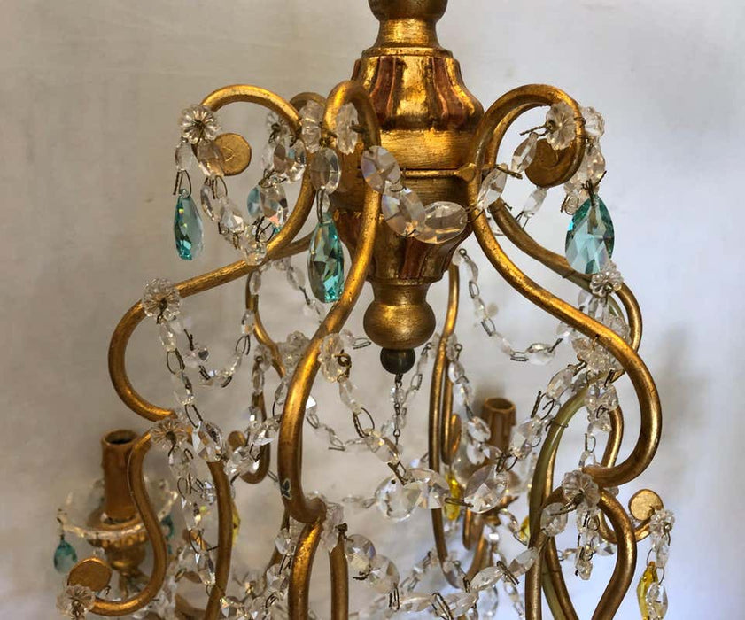 Neoclassical Handcrafted Italian Gilt Metal and Crystal Chandelier by Alba Lamp
