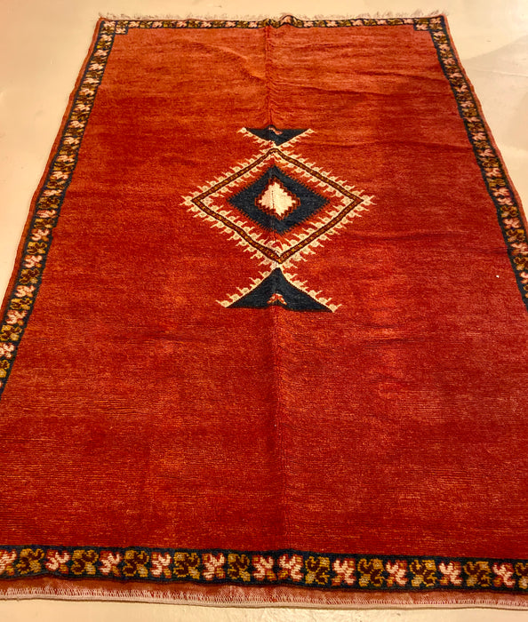 Berber Rug - Tribal Handwoven Wool with Diamond on Red Background