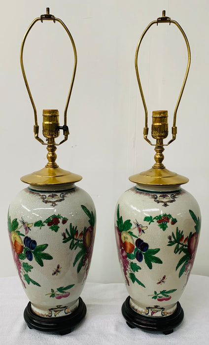 Chinese Export Ceramic Floral Table Lamp, a Pair