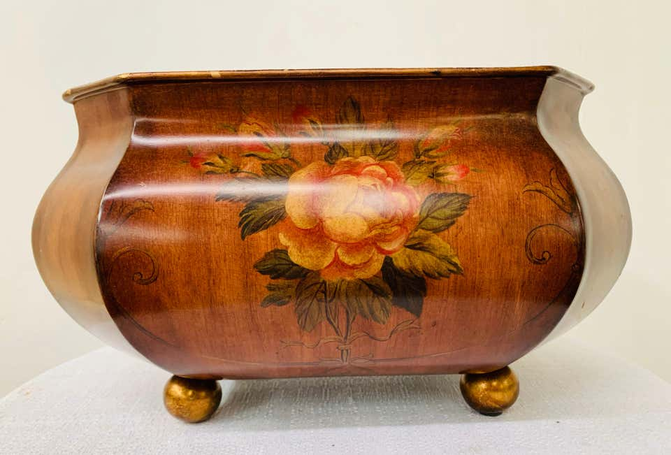 Antique Hand Painted Brown Metal Chest or Box with Floral Design