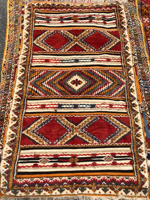 Berber Rug - Handwoven Wool with Abstract Diamond Patterns