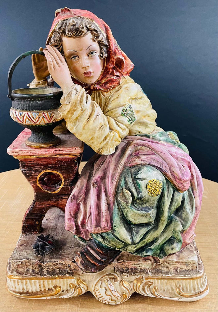 1960's Vintage Italian Porcelain Pensive Farmer Girl Sculpture or Statue