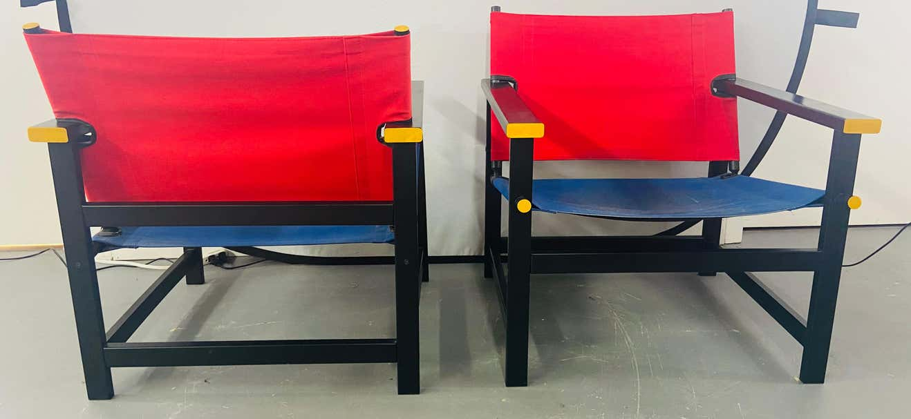 Mondrian Red and Blue Style Sling Chair, a Pair