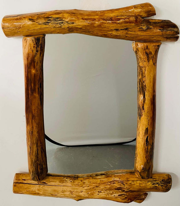 Organic Modern Design Maple Wood Framed Wall or Mantel Mirror