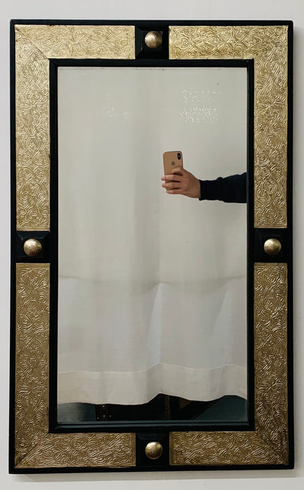 Hollywood Regency Style Moroccan Mirror in Brass and Wood Frame