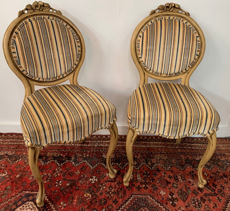 Louis XV Style Oval Back Side Chair, a Pair