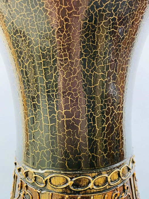 Monumental Vintage Black Enameled Vase with Floral Etching Design