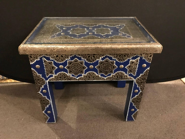 Modern Moroccan Rectangular Side Table, a Pair