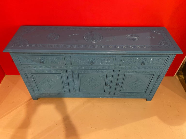 Celeste Blue Modern Moroccan Hand Carved Three Drawer Console or Dresser
