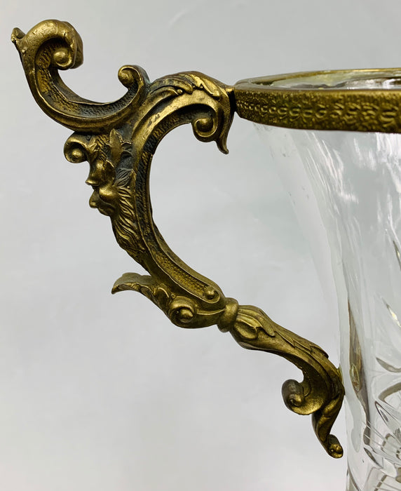 Bronze Mounted and Cut Glass Twin Handle Vase or Urn