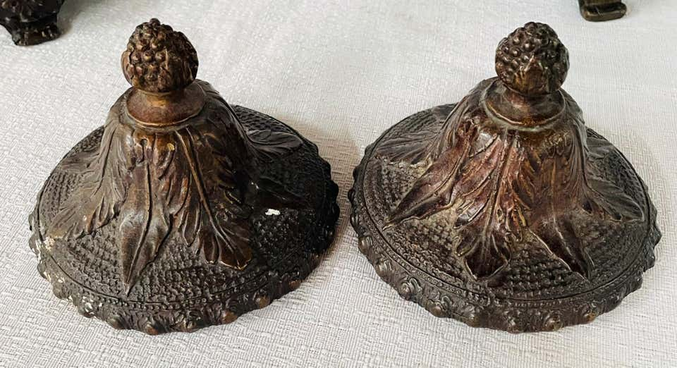 Antique French Patinated Bronze Floral Design Urn or planter, a Pair