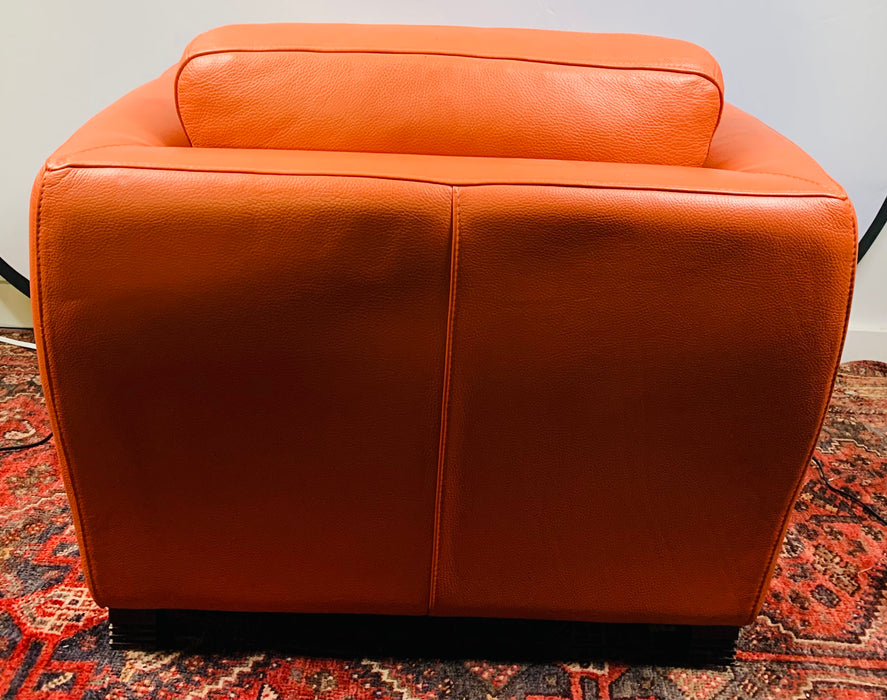 Art Deco Leather Lounge Chair by Roche Bobois, a Pair
